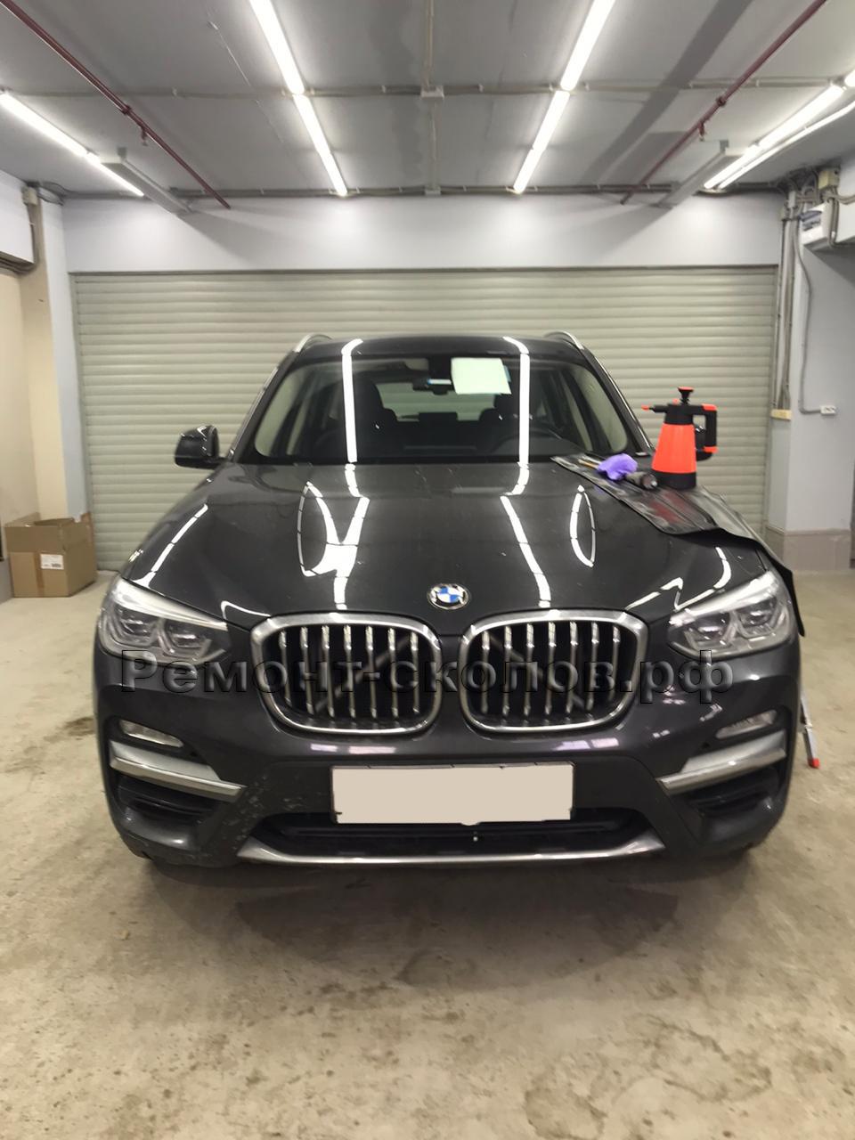 Ремонт трещины и скола на лобовом стекле BMW в ЮЗАО