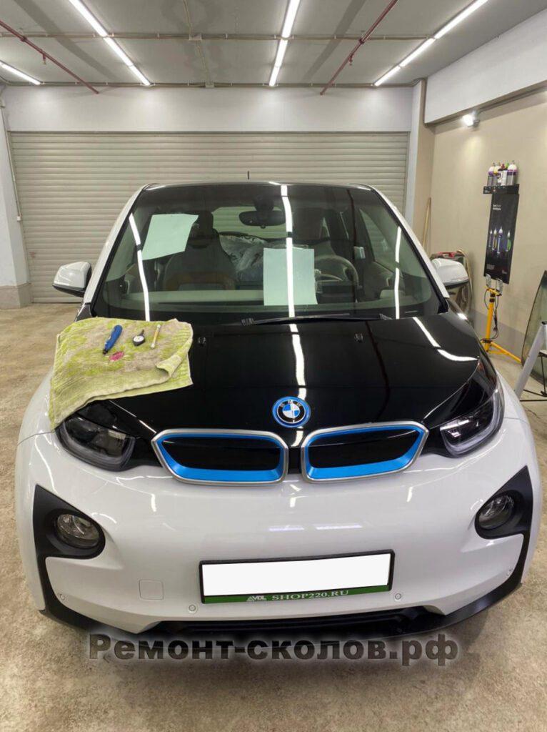 BMW i3 ремонт скола на автостекле в ЮЗАО